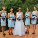 bride and blue bridesmaid dresses palm cove beach wedding makeup and hair cairns