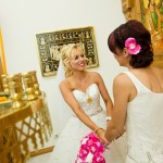 bride and bridesmaid greek wedding cairns bridal hair and wedding makeup for green island reception