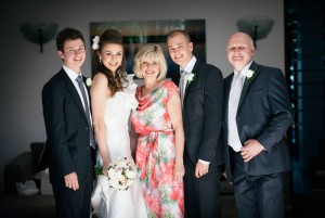 family portrait on the wedding day