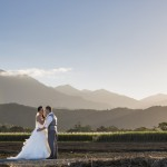 gorgeous photo sunset wedding bride and groom cane fields mountains mist tropics cairns makeup artist and hair