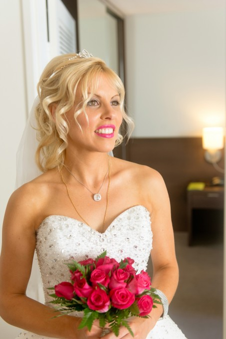 pink roses cairns bridal bouquet wedding hair & makeup for green island wedding