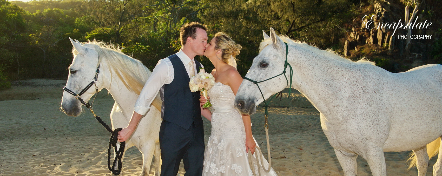 White Horses White Wedding On The Beach Palm Cove Wedding Makeup And Hair Cairns Cairns Wedding Makeup Bridal Hair
