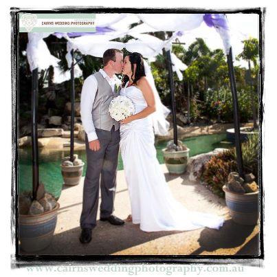 Bride And Groom Kissing At Mission Beach Wedding Mobile Bridal Hair Makeup Styling Service